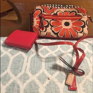 Coach Poppy Flower Red Floral Crossbody and wallet